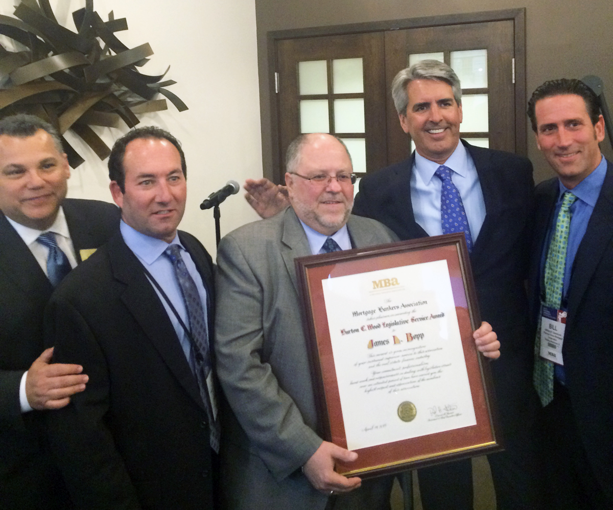 Bill Cosgrove, MBA Chairman, Lee Gross, PHMC SVP, Jim Bopp, award recipient, Dave Stevens, MBA President and CEO, and William Giambrone, PHMC CEO