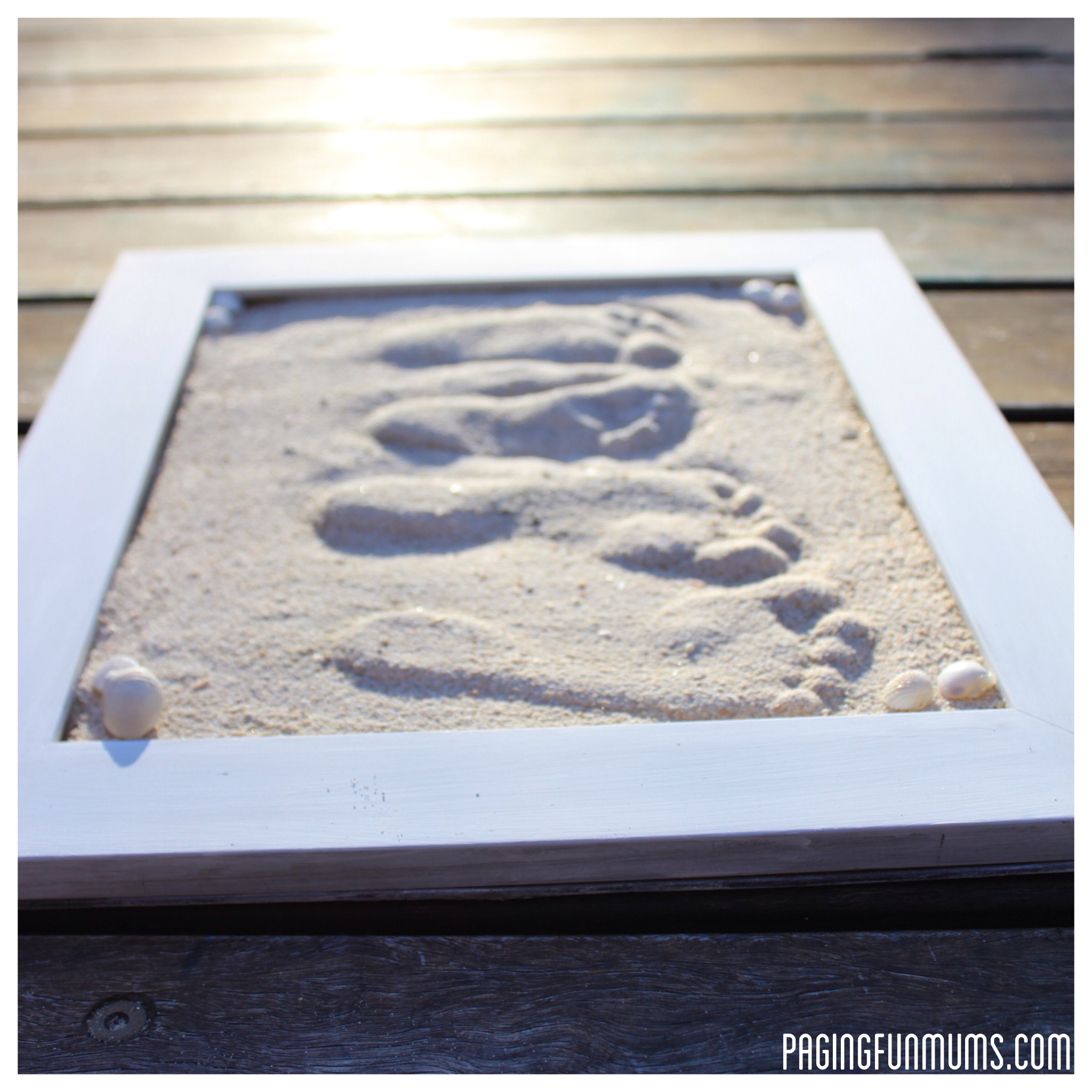 Footprints, three, frame, picture, sand, prints