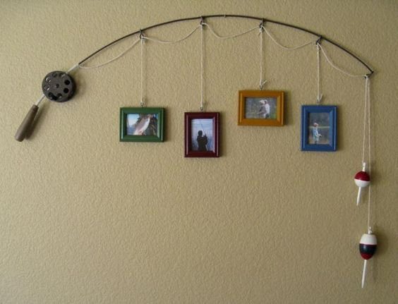 Fishing pole picture frame hanger for mancave | blog.phmc.com