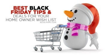 Best Black Friday Tips and Deals for Home Owners. Snowman pushing a cart. Find this image on blog.phmc.com