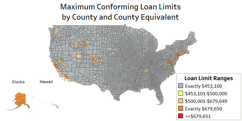 Maximum Conforming Loan Limits 2018 by County and County Equivalent provded by the FHFA. Find this image on blog.phmc.com