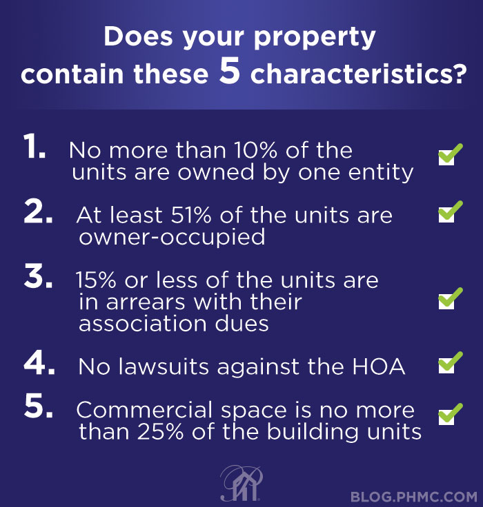 A condo, townhome, or PUD is usually considered warrantable if it has the following 5 characteristics: 1 No more than 10% of the units are owned a one entity • At least 51% of the units are owner-occupied • 15% or less of the units are in arrears with their association dues • No lawsuits against the HOA • Commercial space is no more than 25% of the building units