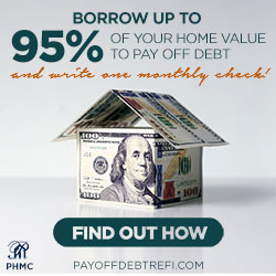 Borrow up to 95% of your home value to pay off debt