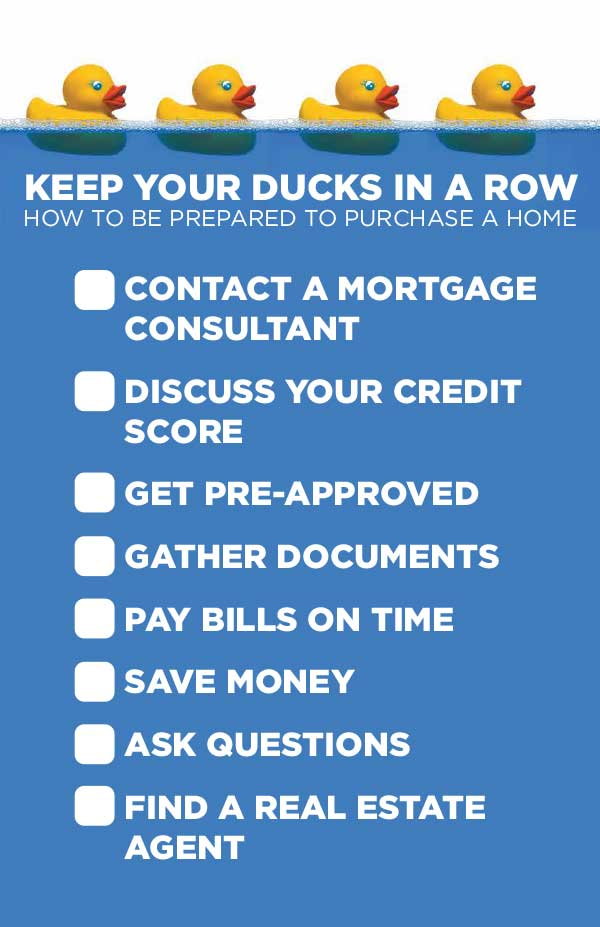 Keep your Ducks in a Row: How to be Prepared to Purchase a Home