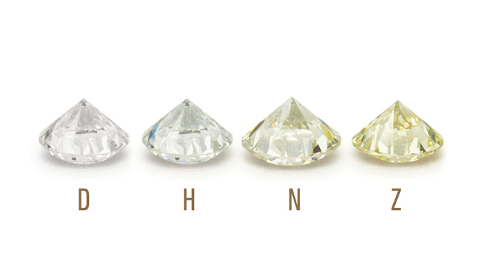 One of the 4 Cs of diamonds. Color refers to the presence or absence of color in white diamonds, colorless diamonds emit more sparkle. Most diamonds have a very faint light yellowish or brownish color, and the white diamonds are more rare.
