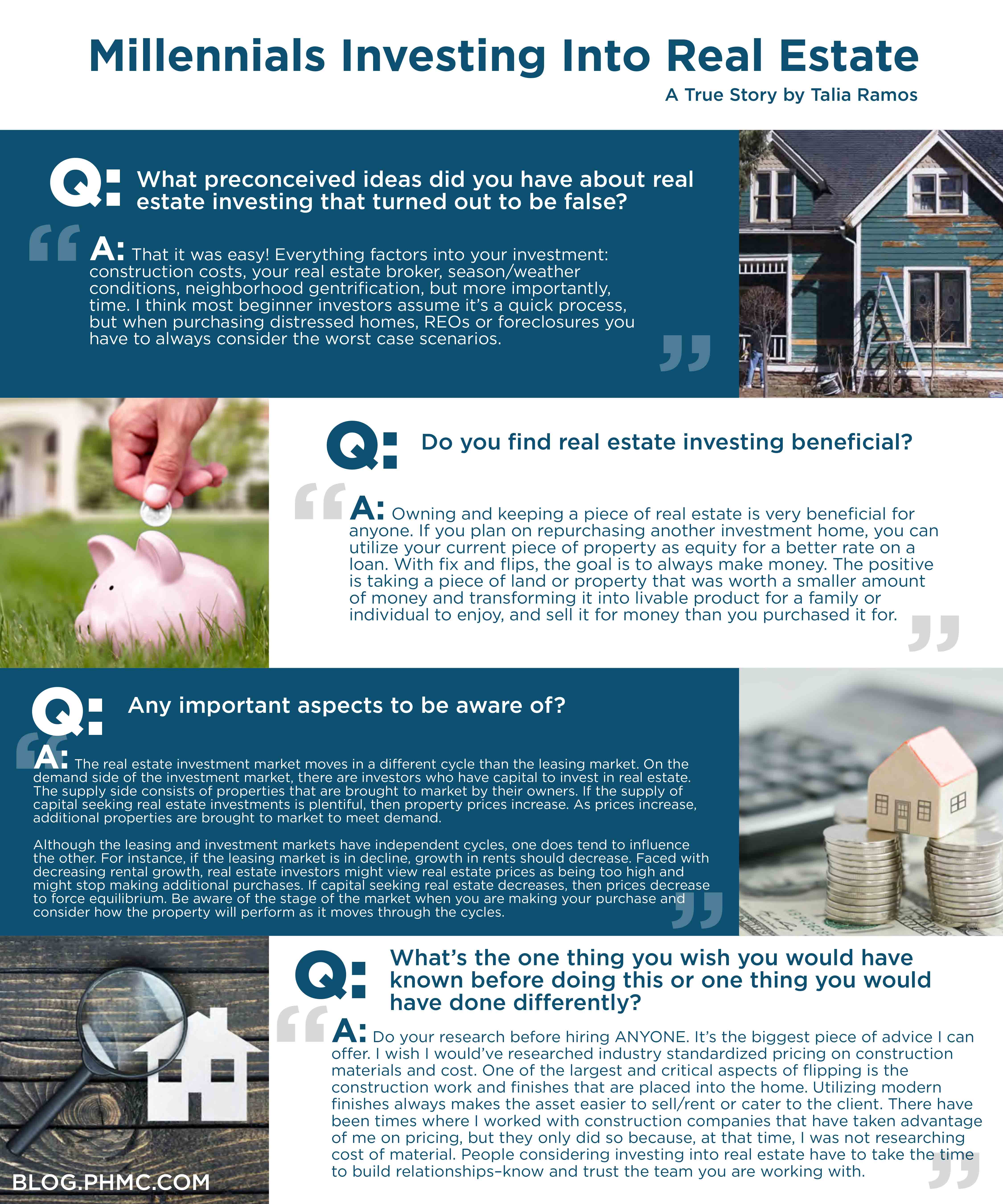 The Millennial generation values investing their money just as important as any other generation. They trust the real estate market more than the stock market. PHMC interviewed Talia Ramos, a millennial independent chicagoland investor to find out how she got started and any tips for other beginner real estate investors. Find this image on blog.phmc.com