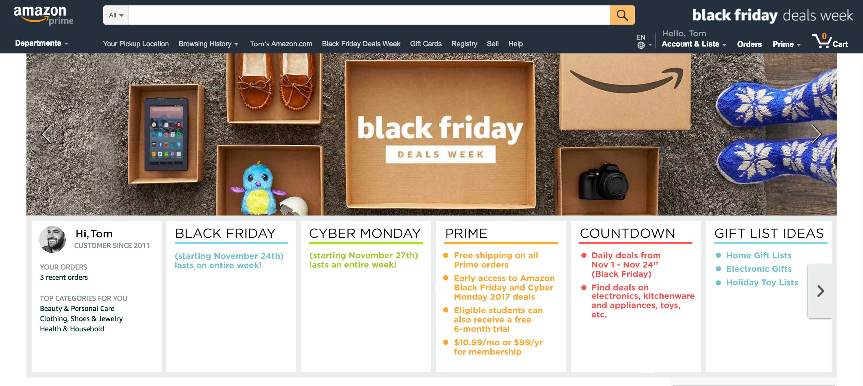 Take advantage of a free, 30-day trial of Amazon Prime: Free shipping on all Prime orders Early access to Amazon Black Friday and Cyber Monday 2017 deals Eligible students can also receive a free 6-month trial Cancel after 30 days if you do not wish to become a member $10.99 per month or $99.00 per year for membership Shop the Countdown to Black Friday: Daily deals from November 1-November 24th (Black Friday) Find deals on electronics, kitchenware and appliances, toys, etc. Black Friday (starting November 24th) lasts an entire week! Cyber Monday (starting November 27th) lasts an entire week! Choose gifts on Amazon's premade holiday gift lists Home gift lists Electronic Gifts Holiday Toy Lists | blog.phmc.com
